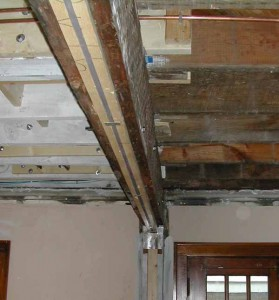 wood beam with steel flitch plate