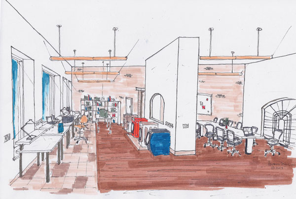 Hand rendering of new testing lab and meeting space