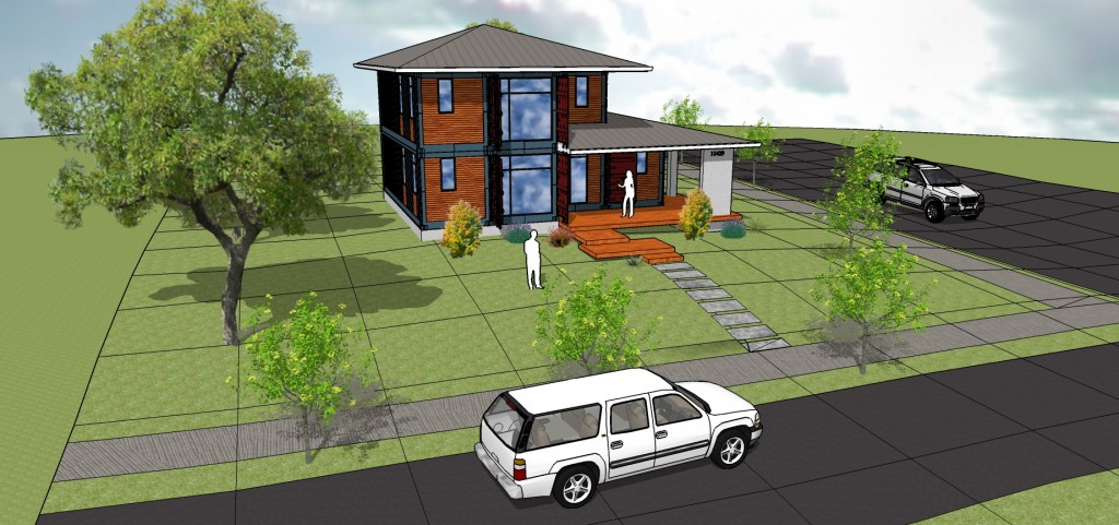 Rendering of street side of container building