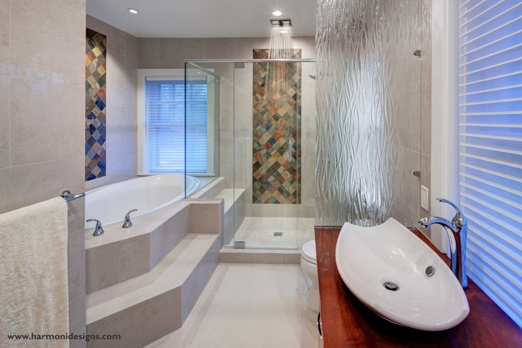 master bath with warm colors and natural materials