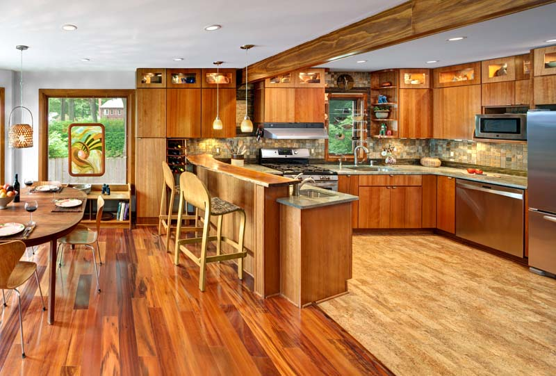 Warm contemporary kitchen with natural materials