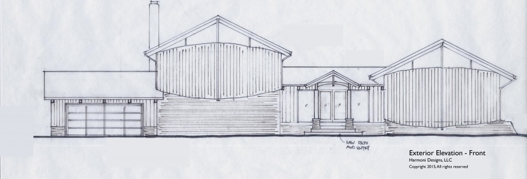 Design sketch for the remodeled house as seen from the street
