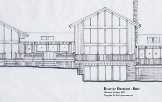 Sketch of remodeled rear view of the home