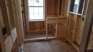 Bathroom subfloor during construction