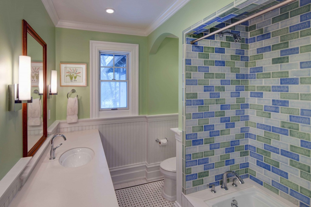 Fun transitional bathroom with colorful tile