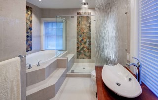 Modern bathroom with warm natural finishes