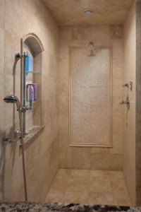 Shower with tile inlay
